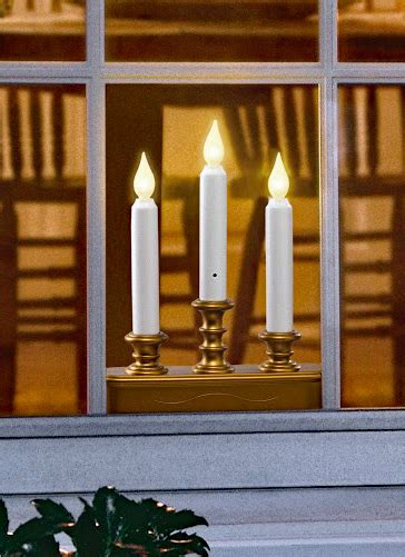 Three Tier Battery Window Candle Antique Gold - Dual Mode
