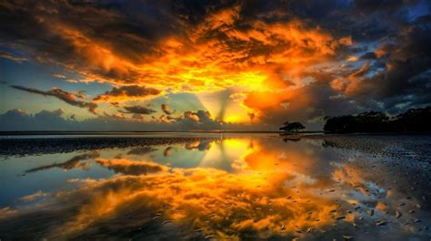 Sunset Nature Beach Shore Shockwave Skyscapes Reflections